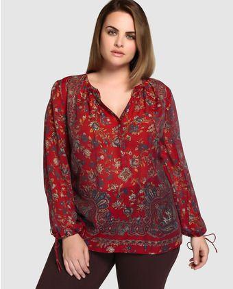 8daae22312 Blusa estampada de mujer talla grande Couchel con manga larga ...