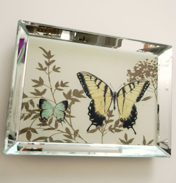 Decorative Mirrored Butterfly Tray