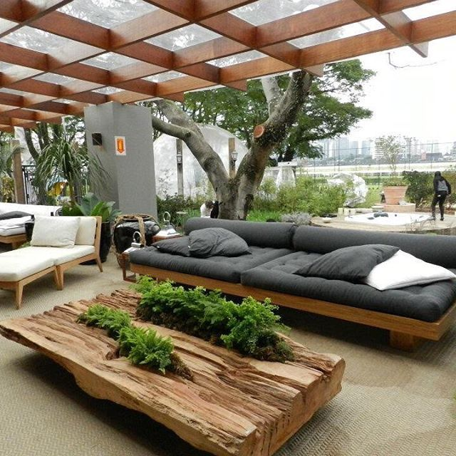 Contemporary Outdoor Seating: Summer Style!! GRAY AND PALE WOOD COVERED OUTDOOR SEATING