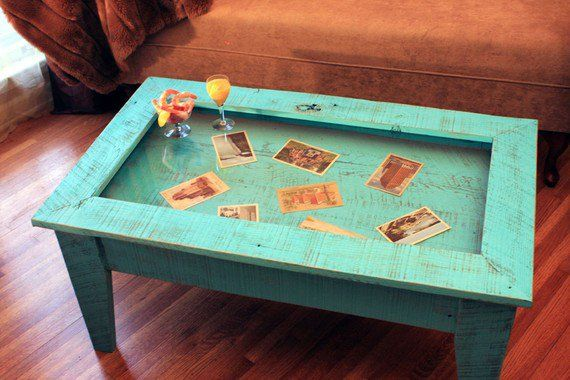 Display Coffee Table With Glass Top Reclaimed Wood Rustic Contemporary Distressed Turquoise Finish Display Coffee Table Shadow Box Coffee Table Coffee Table