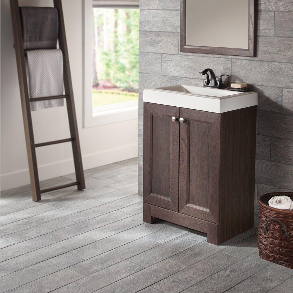 Glacier bay shaila 245 in w bath vanity in gray oak with