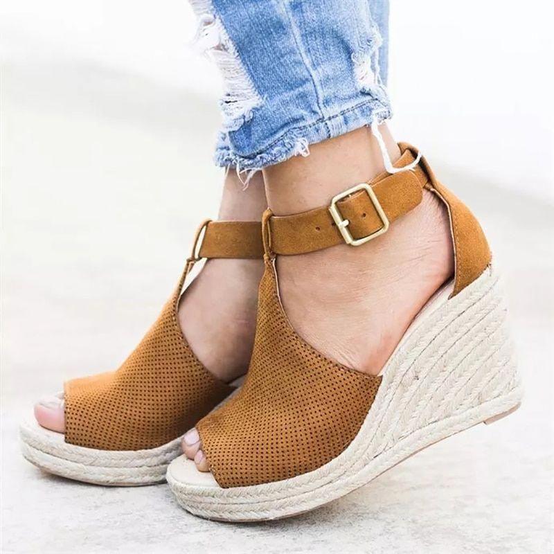 9146340c154 Shoes - Plus Size Summer Women Wedge Heels Peep Toe Sandal – Kaaum   Workoxfordshoes