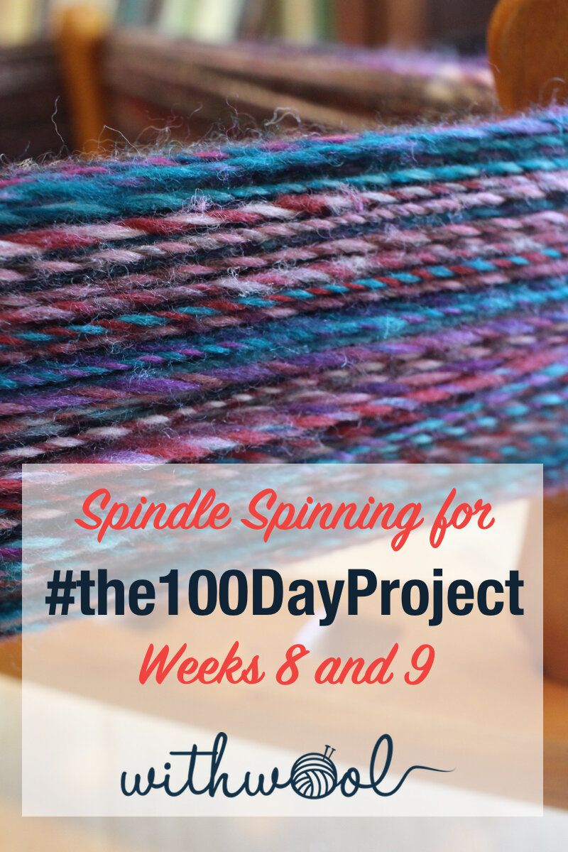 Weeks 8 and 9 of spinning for #the100DayProject saw three big milestones. One, the 50 day mark passed and the project is half complete! Two, I finished the first skein of handspun! Three, the second yarn is on the spindle and spinning up fast.   #handspunyarn #turkishspindle #handdyedfiber #schachtspindle #makingyarn #hummingbirdmoonfiber #fiberarts