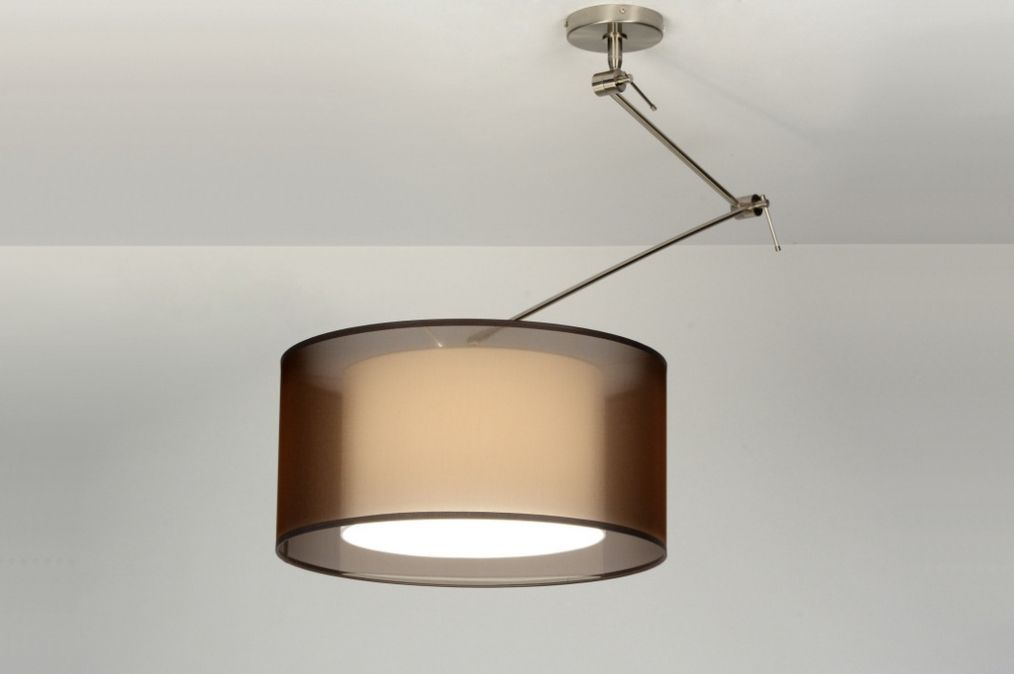 Hanglamp 30305: Modern, Bruin, Stof, Rond - verlichting woonkamer ...