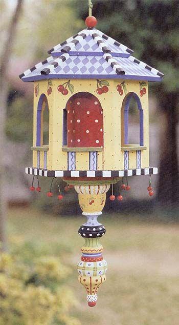 mary engelbreit inspired bird house   too cute