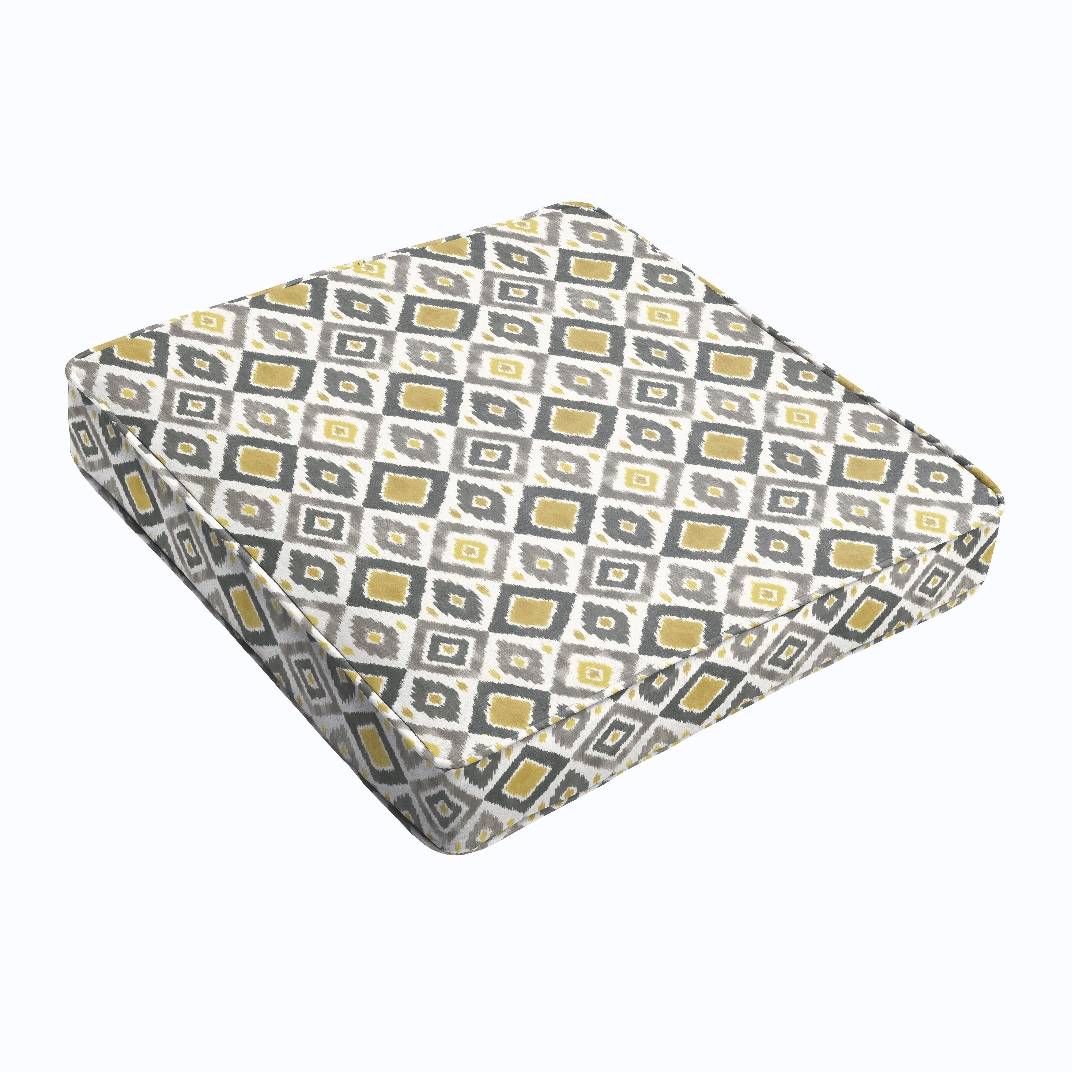 Grey Gold Diamonds Square Cushion Corded 19in x 19in x3 in