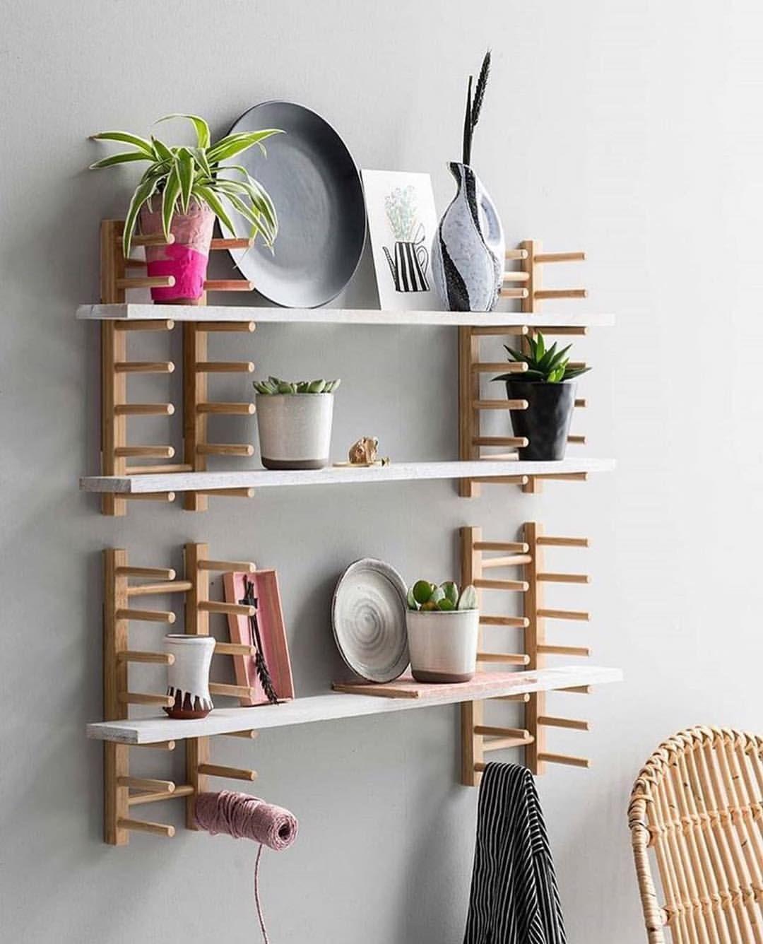 """꿀하우스 원룸 on Instagram: """"Wall shelves � (IKEA OSTBIT Plate holder bamboo) instagram - @janneke.peters.styling ・・・ Super tof dat VTWonen vandaag de door ons eerder…"""""""