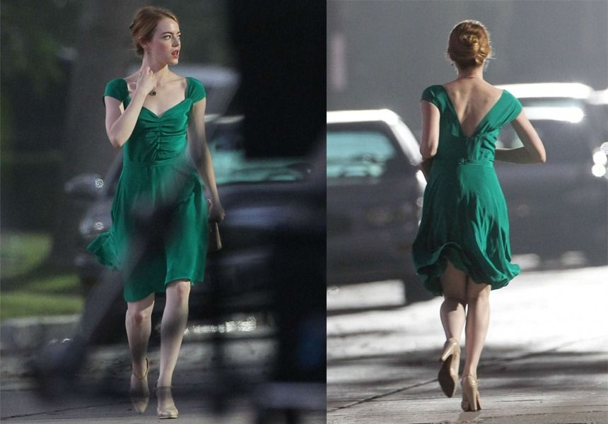 la la land emma stone robe verte costumes de films. Black Bedroom Furniture Sets. Home Design Ideas