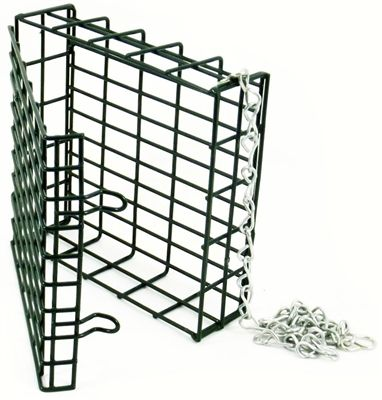 Suet Feeder. Heavy guage wire- holds up for years of use. Standardized size- holds popular size suet cake or raw suet. Snap in handle- durable and easy to hang 1 x 1/2 openings- reduce loss of small pieces. Clamp versions fasten securely to pole- no raccoon or dog theft. #suetfeeder #birdfeeder #suetcage #suetbasket