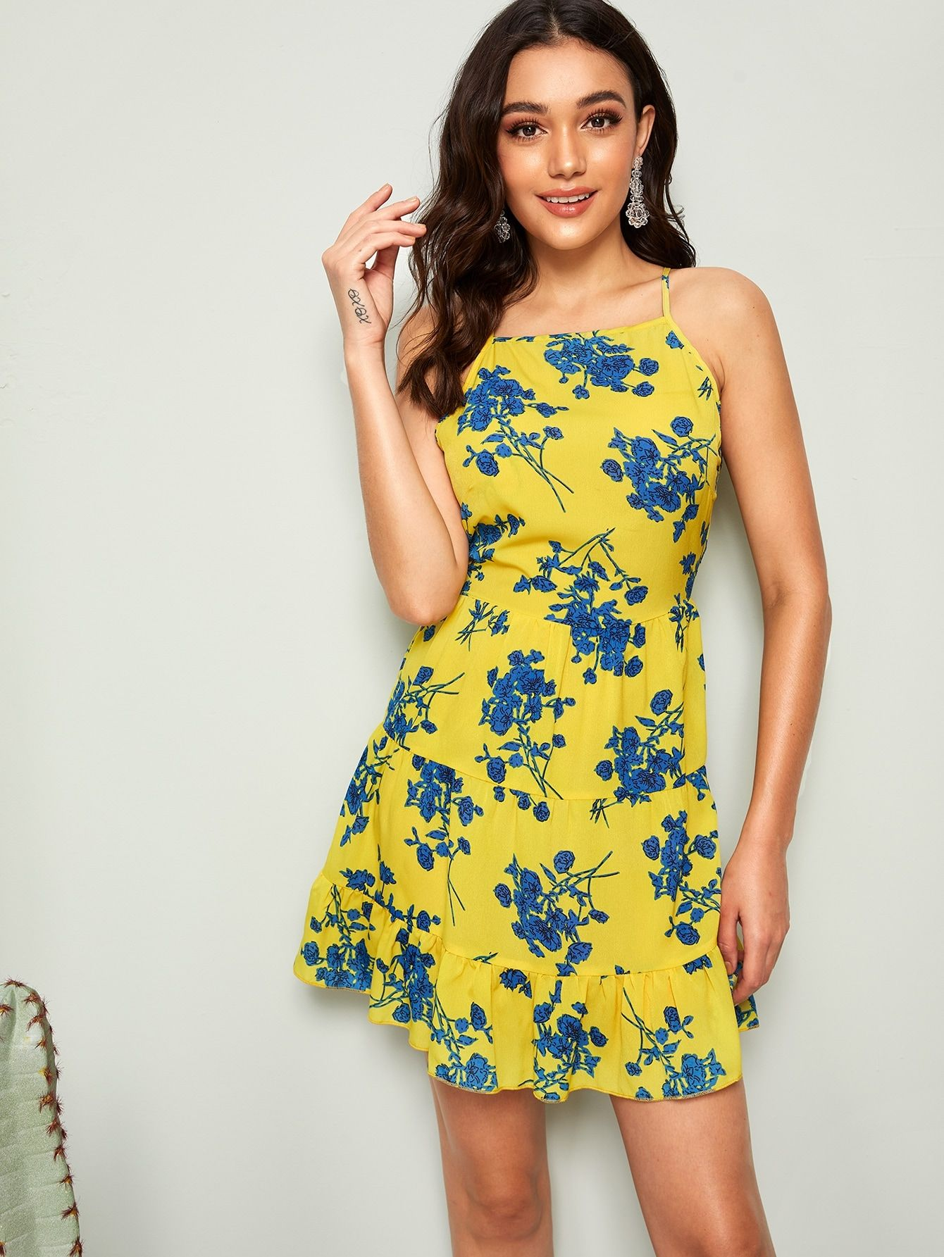 Plants Print Flippy Hem Sundress Ad Sponsored Print Plants Flippy Bright Fashion Fit And Flare Dress Sundress