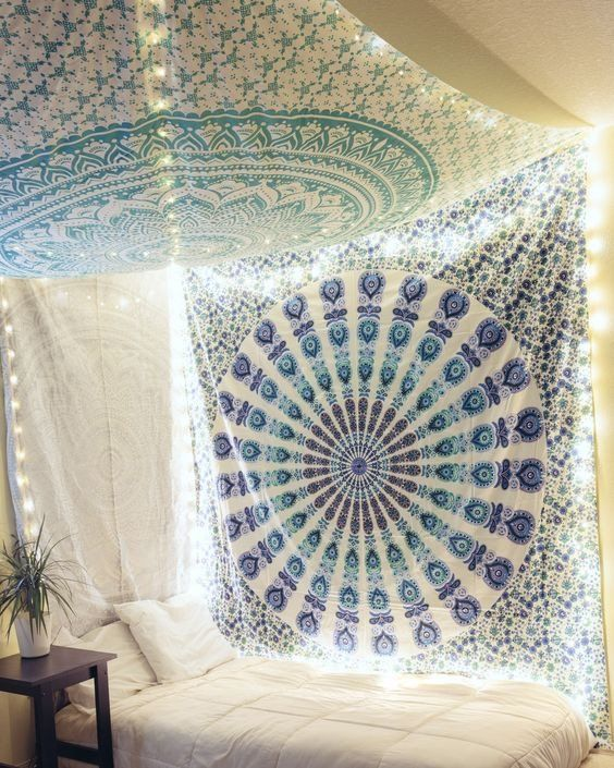 Blue Tapestry Hippie Peacock Mandala Tapestry Wall Hanging Dorm