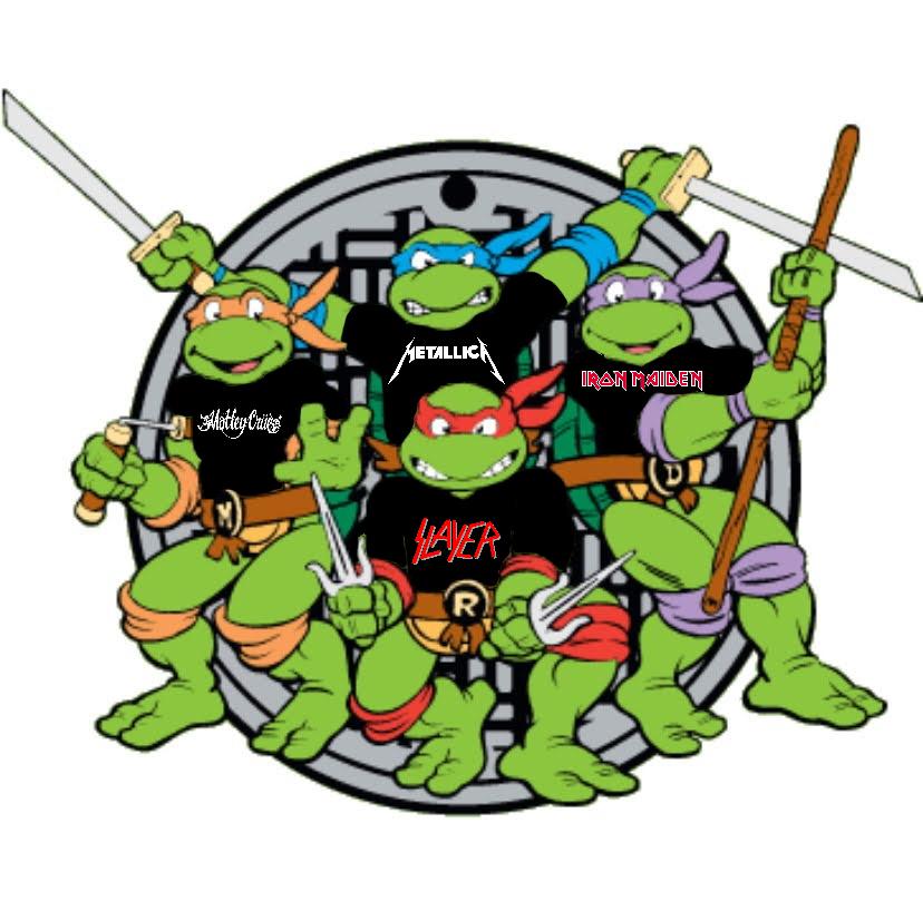 The Ninja Turtles Wearing Heavy Metal T Shirts Heavy Metal Bands Metal T Shirts Heavy Metal