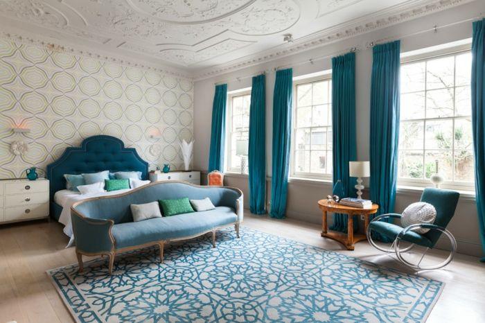 Parfait Chambre Classique Bleu Canard Et Beige