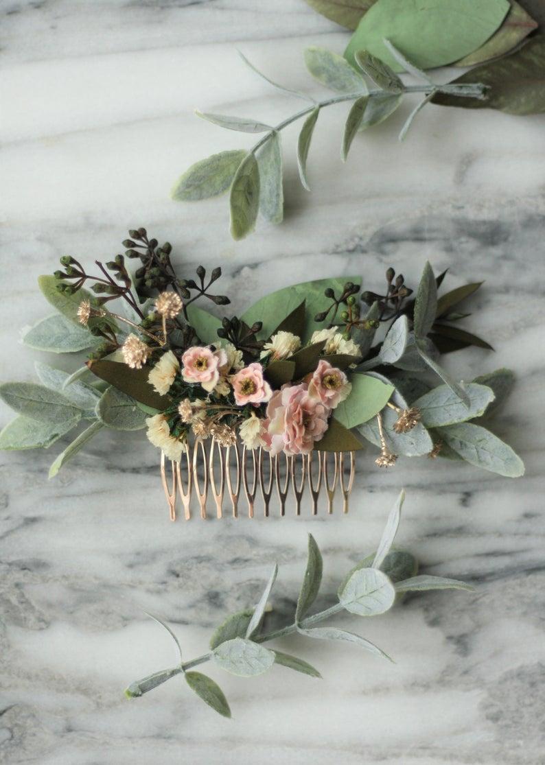 Eukalyptus Braut Haar Kamm blush Hochzeit Kamm rosa Blume Kamm ...