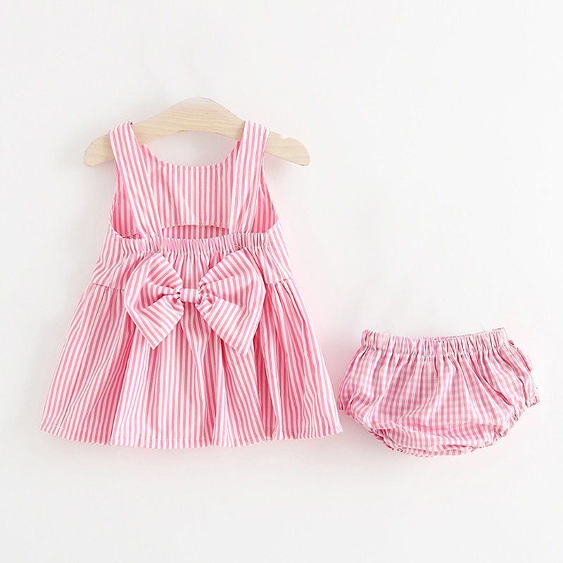 Adorable Striped Bow Decor Sleeveless Dress and Pantie Set for Baby Girl 13f576ea77b