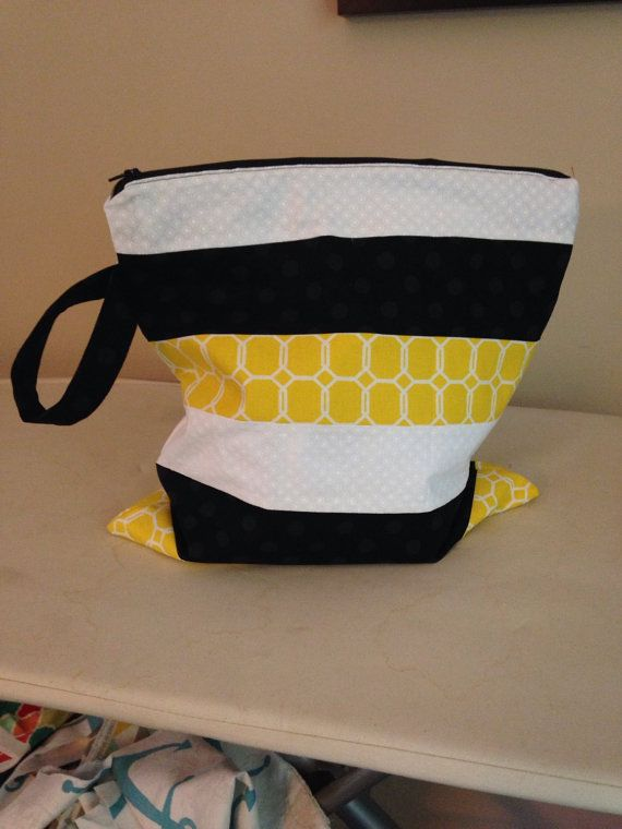 Custom for KD-Wet Bag with Handle - 14x14 - Color Block Yellow, Black & White with Black Zipper