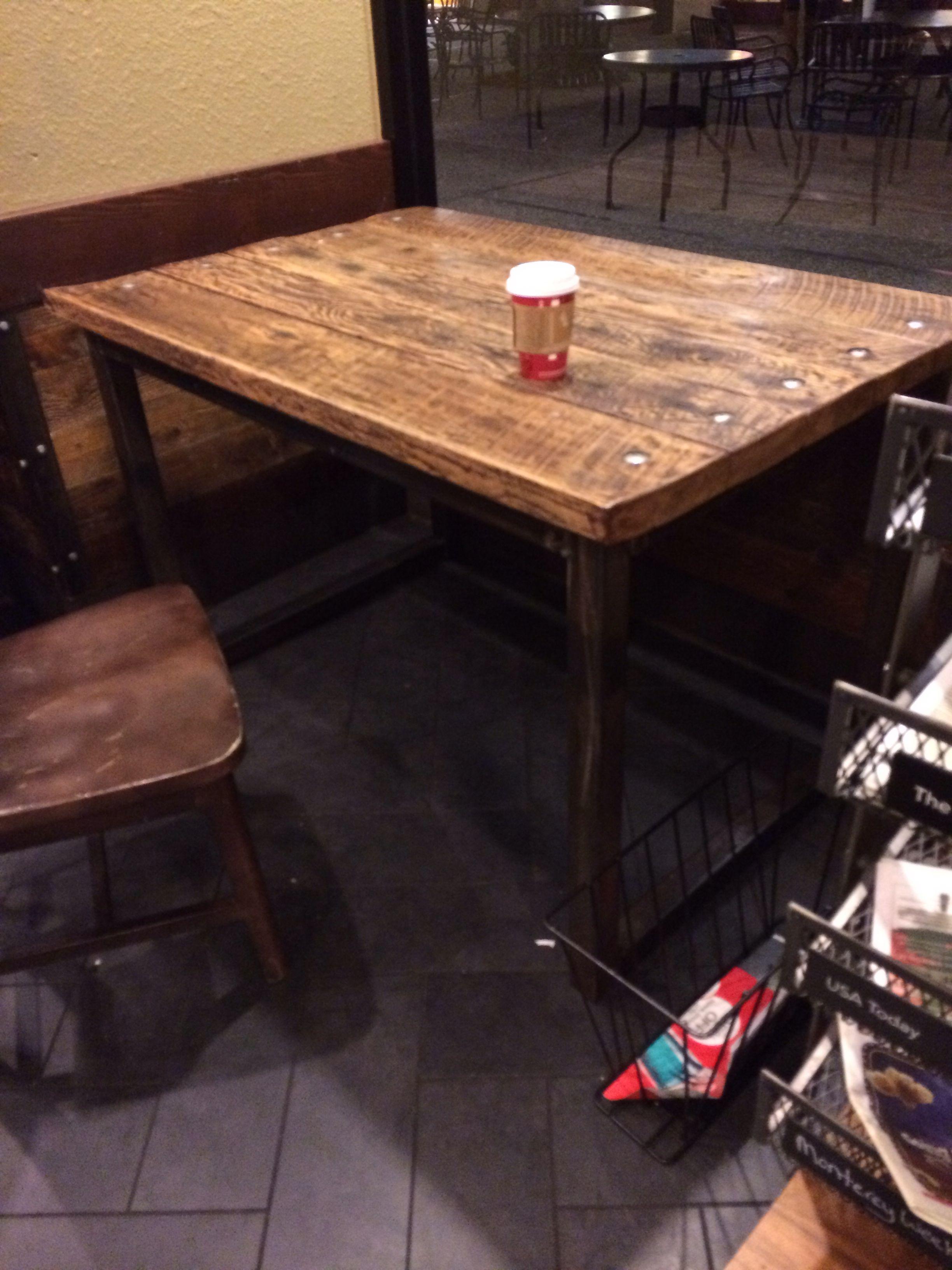 Starbucks Wood And Metal Table