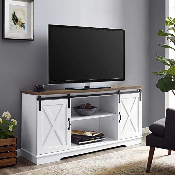 "Walker Edison WE Furniture TV Stand 58"" White"