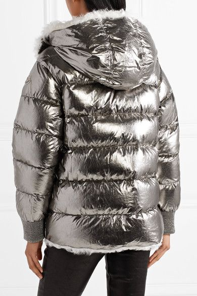 Moncler - Lirio Shearling-trimmed Metallic Coated Cotton Down Coat - Silver 43a5f9e8e