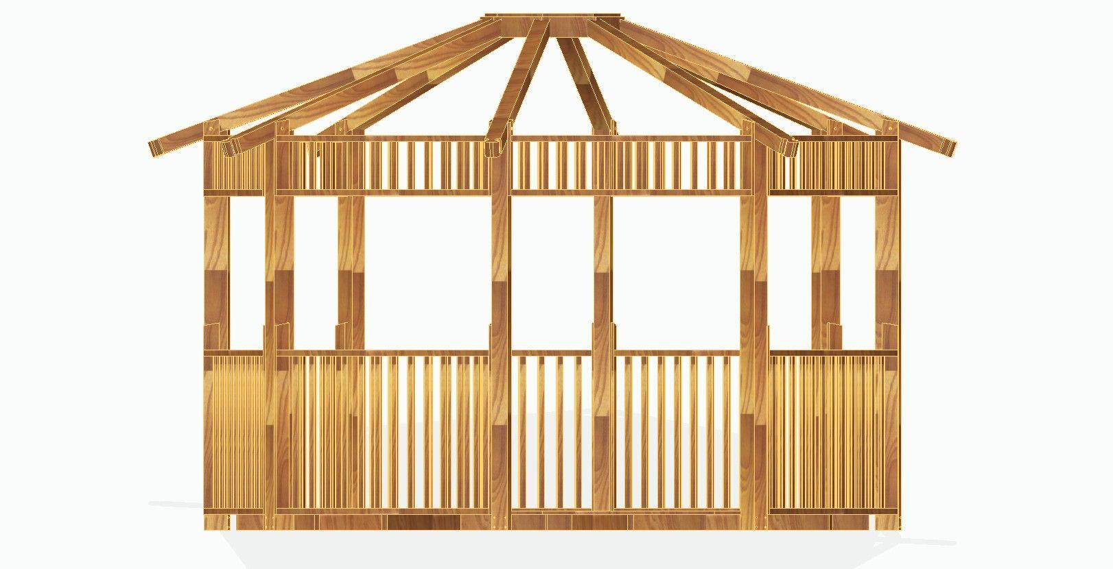 Kiosco octogonal con tejado a 16 aguas de madera kiosco for Kioscos prefabricados de madera