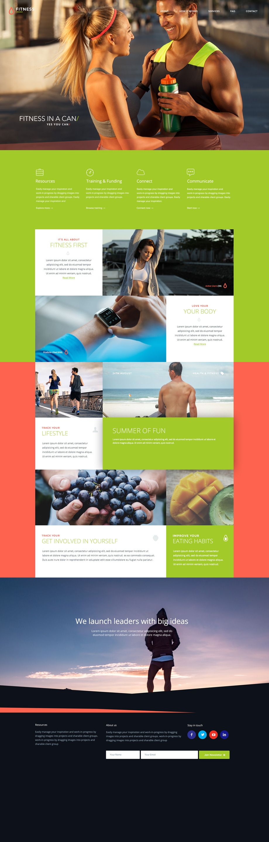 ⬇ Free download: Fitness free Photoshop PSD template | Web Design ...
