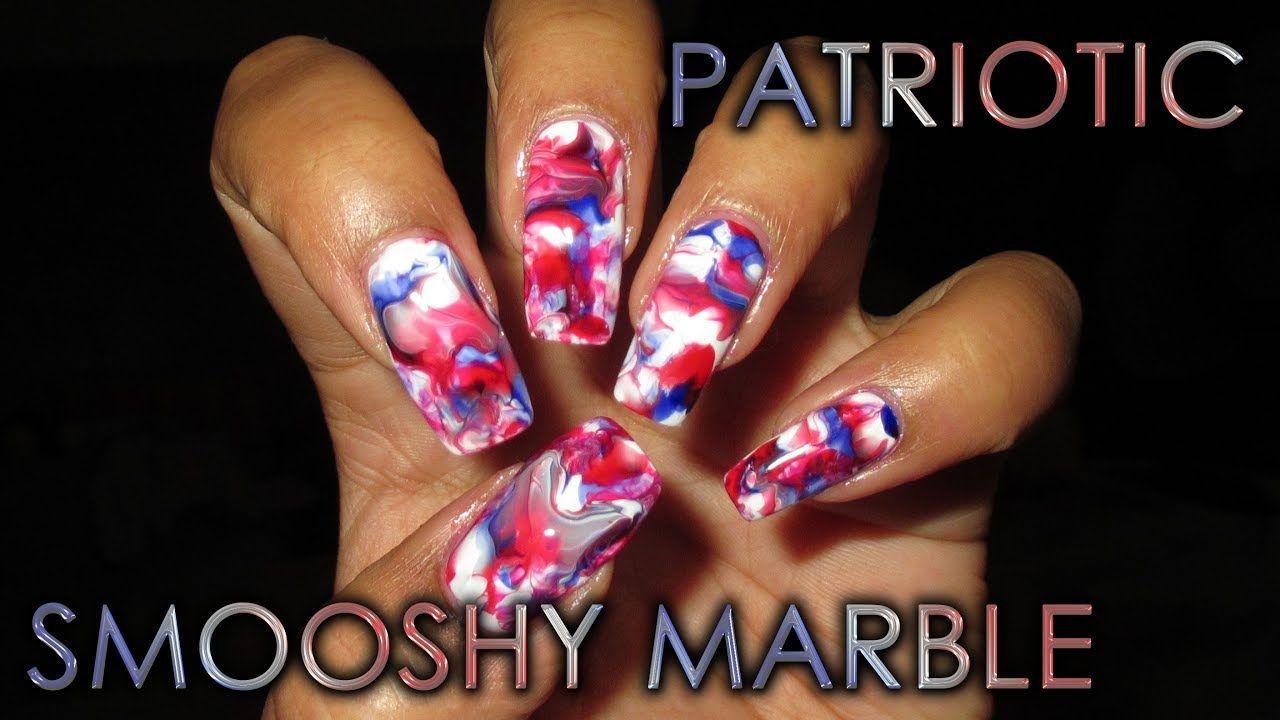 Patriotic Red White & Blue Smooshy Marble | DIY Nail Art Tutorial ...