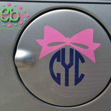 CIRCLE MONOGRAM With BOW Vinyl Car Decal Gas Tank Decal Preppy - Circle monogram car decal