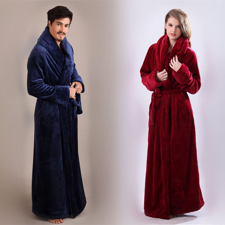 70aac5d4de Unisex Men and Women Ultra Long Ultra Thick Coral Fleece Flannel Full  Length Plus Size Bathrobe Sleepwear Loungewear Nightgown