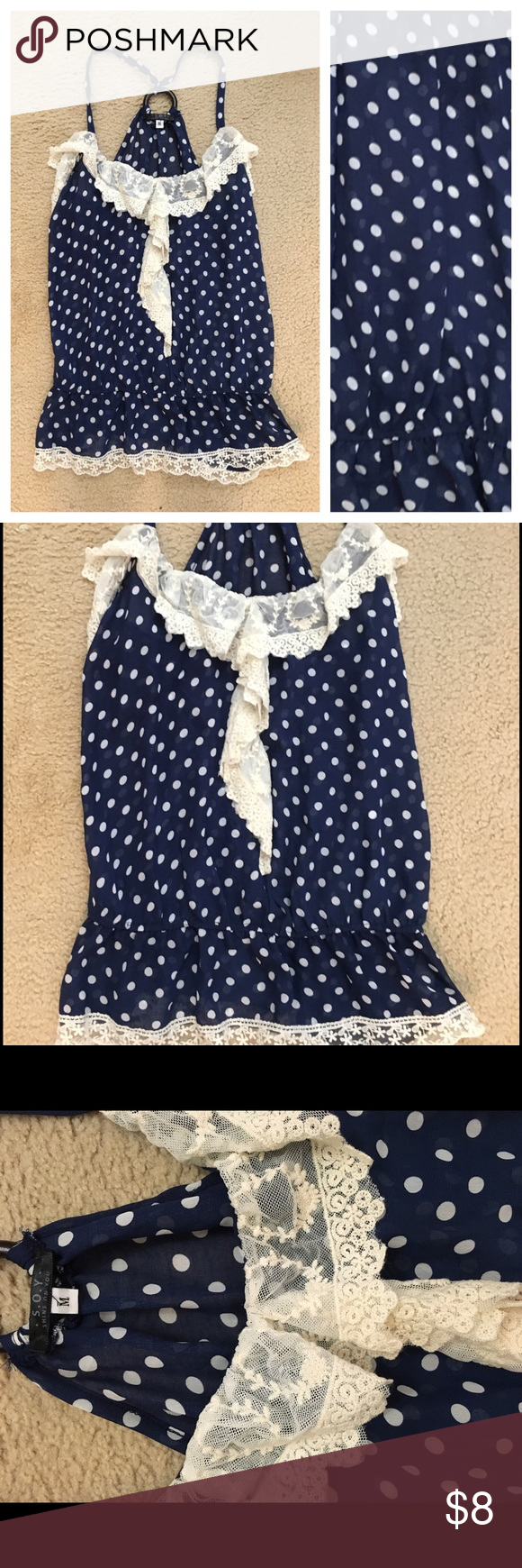 Adorable semi sheer polka dot top Adorable polka dot top. Size medium. In excellent condition. I just had a baby so I am currently not modeling any items. Thank you for understanding! ❤️ S.O.Y Tops