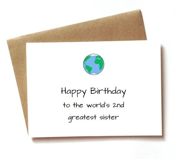 Funny Birthday Card For Sister Birthday Worlds By Spellingbeecards