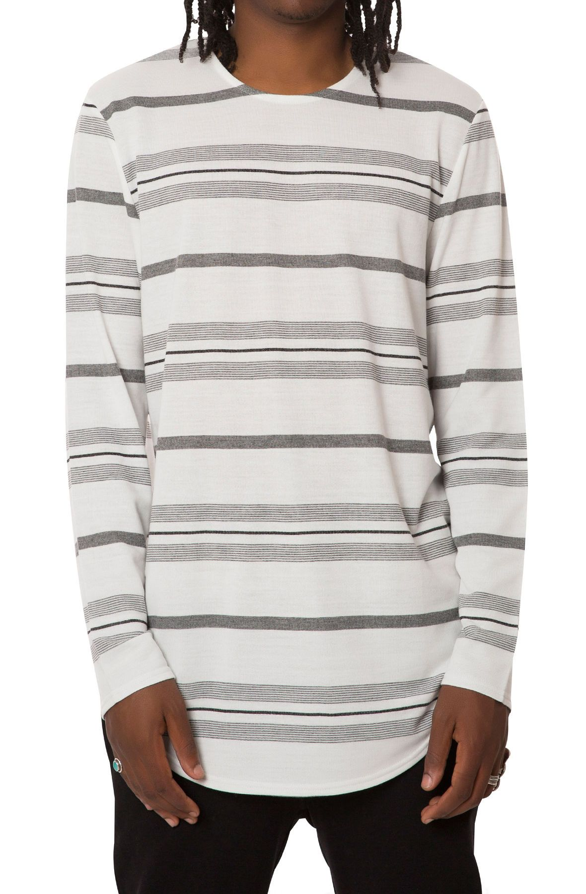 ddf3632469e7 Elwood The Ls French Terry Curved Hem Tee In White Stripes White ...