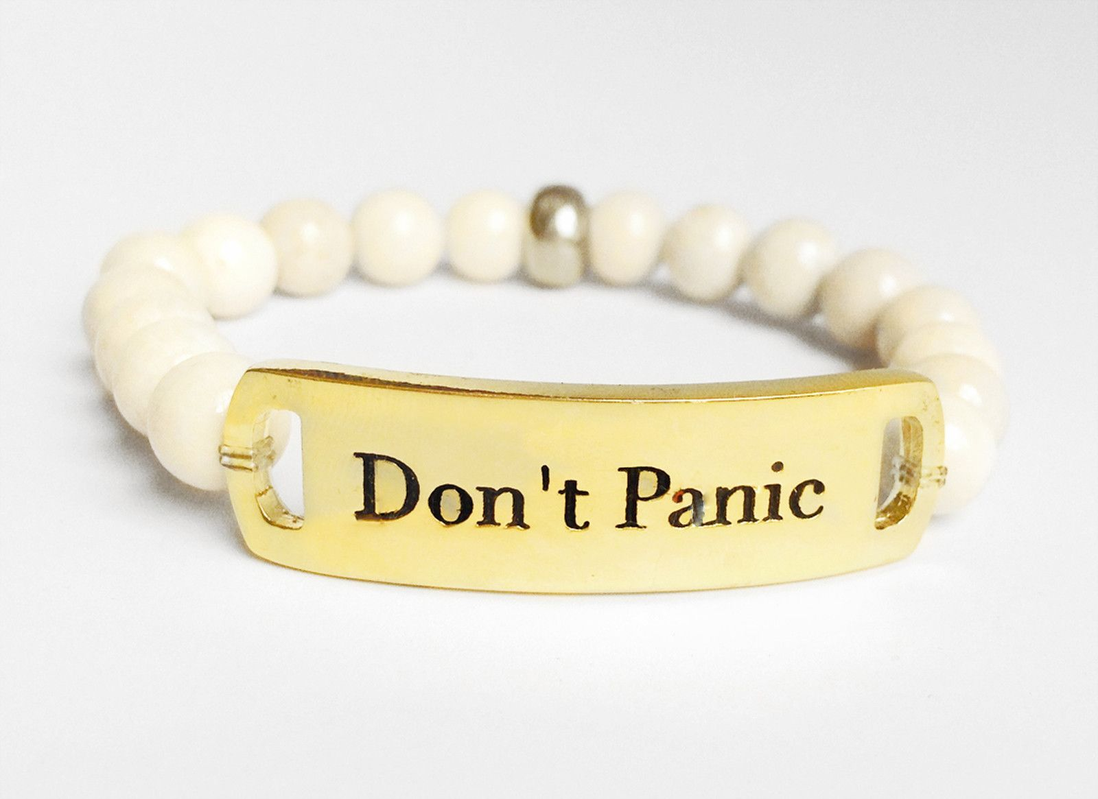 White Fossil Stretch Don't Panic Bracelet/ Gold