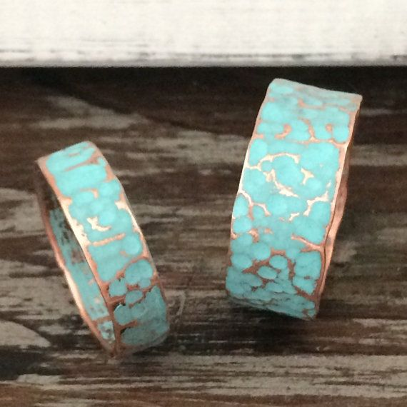 Hammered Copper Wedding Band Ring Set By Mistymountainforge