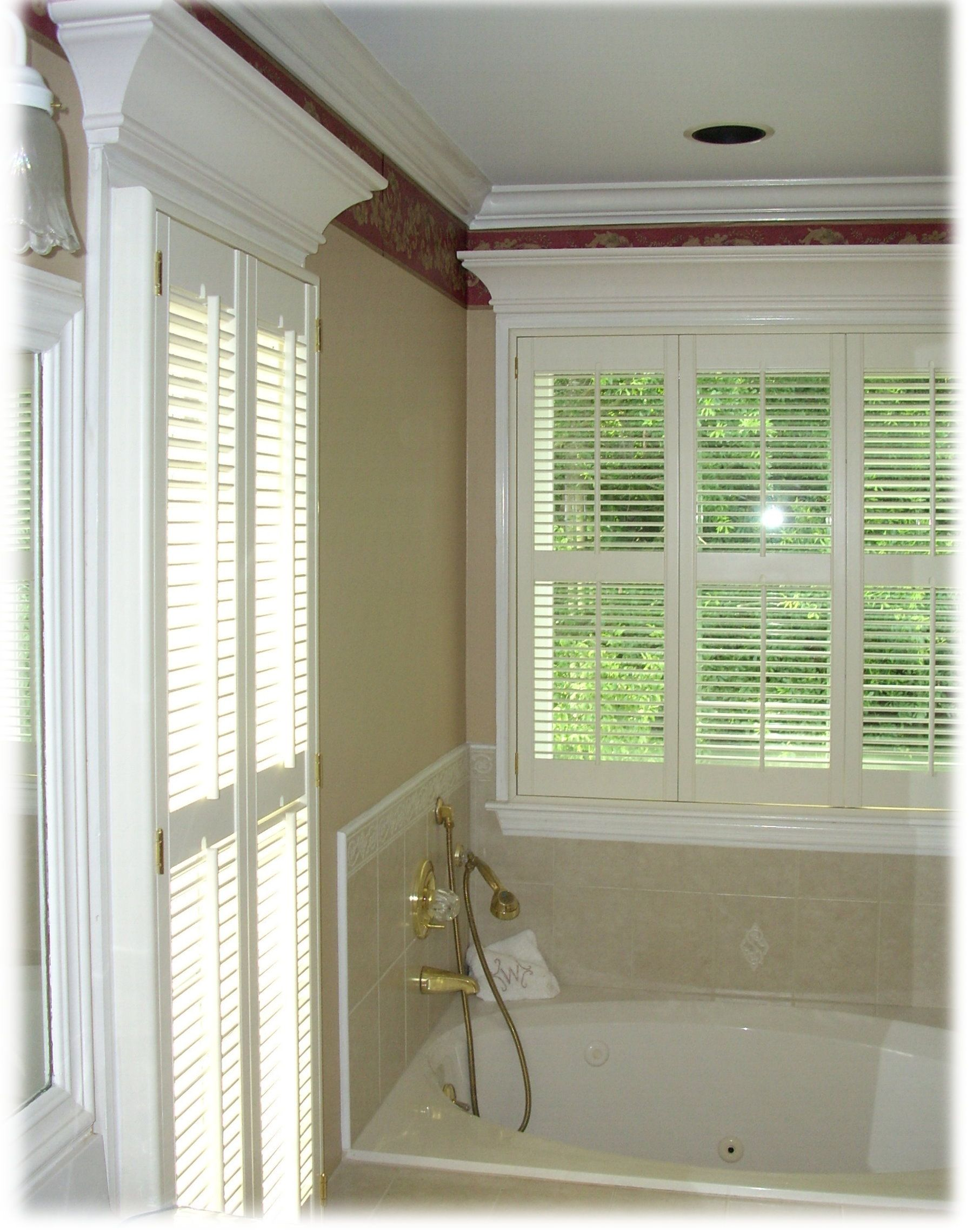 Bathroom privacy can be attained by covering shower windows with