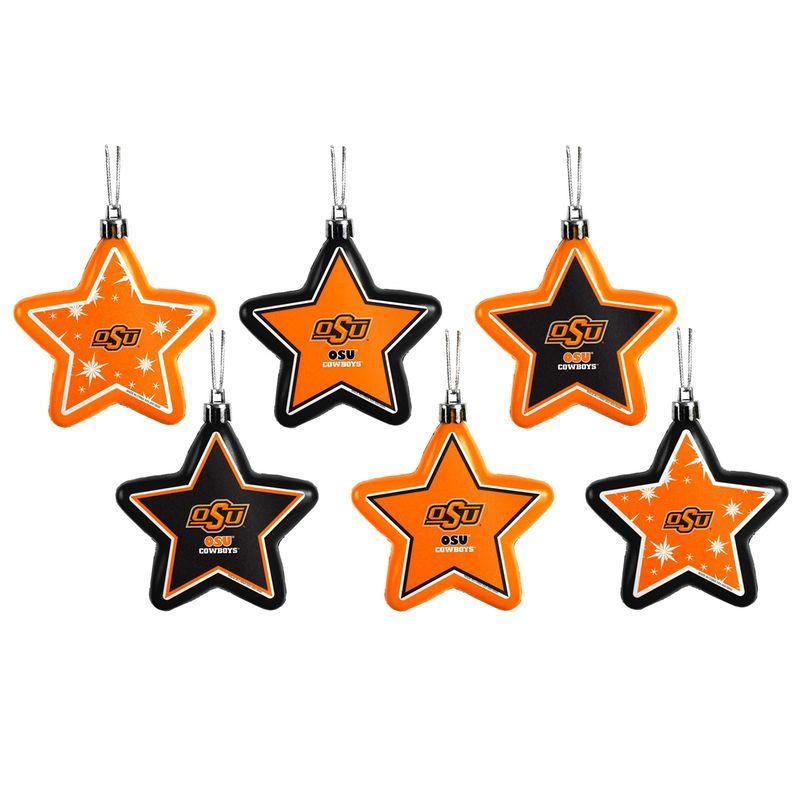Clemson Christmas Tree: Oklahoma State Cowboys Shatterproof Star Ornaments 6-Pack