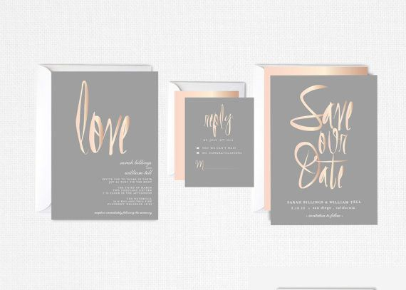 calligraphy save the date, blush, gray, rose gold, elegant, modern, Einladungsentwurf