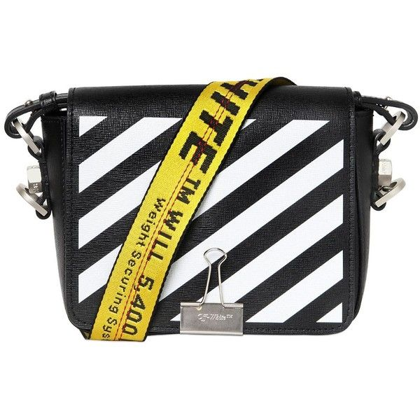 8c140aba7b Off White Women Stripes Binder Clip Leather Shoulder Bag (€855) ❤ liked on  Polyvore featuring bags