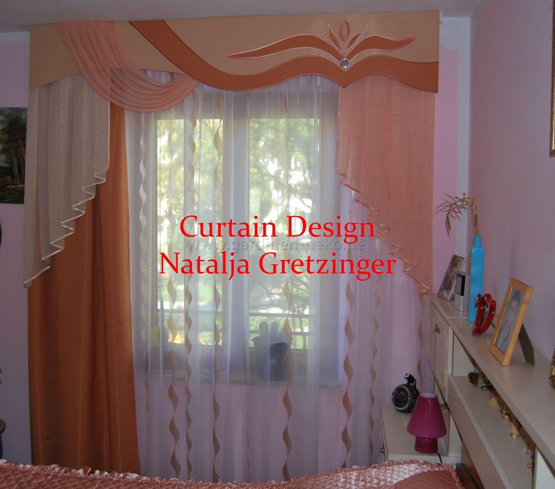 klassischer vorhang mit schabracke in orange. Black Bedroom Furniture Sets. Home Design Ideas
