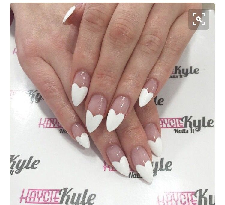 White Heart French Tip Heart Nails Valentines Nails Nail