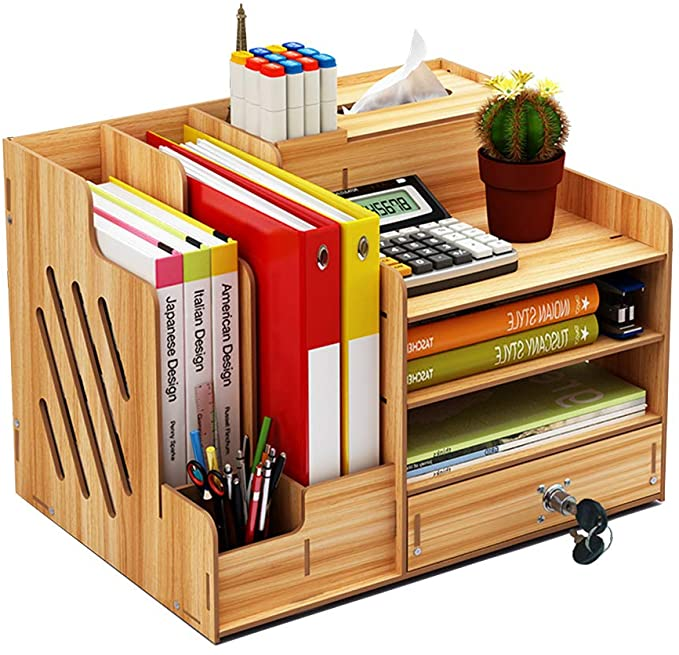 wooden desk organizer large capacity