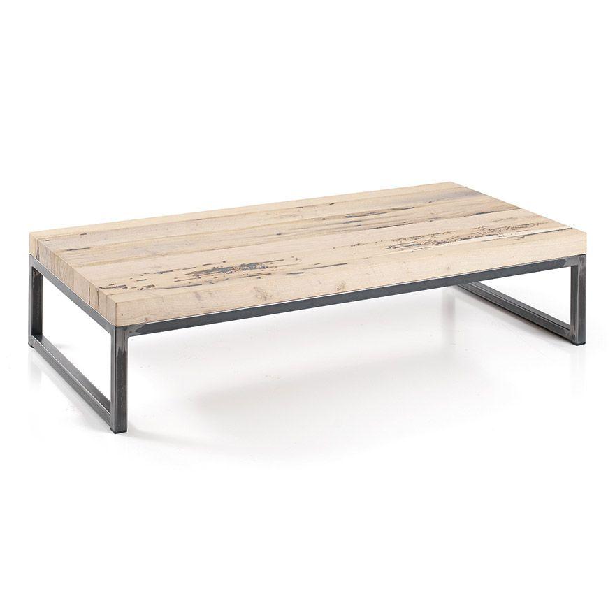 jolie table basse rectangle en ch ne plaquage et metal pour une ambiance nature home. Black Bedroom Furniture Sets. Home Design Ideas