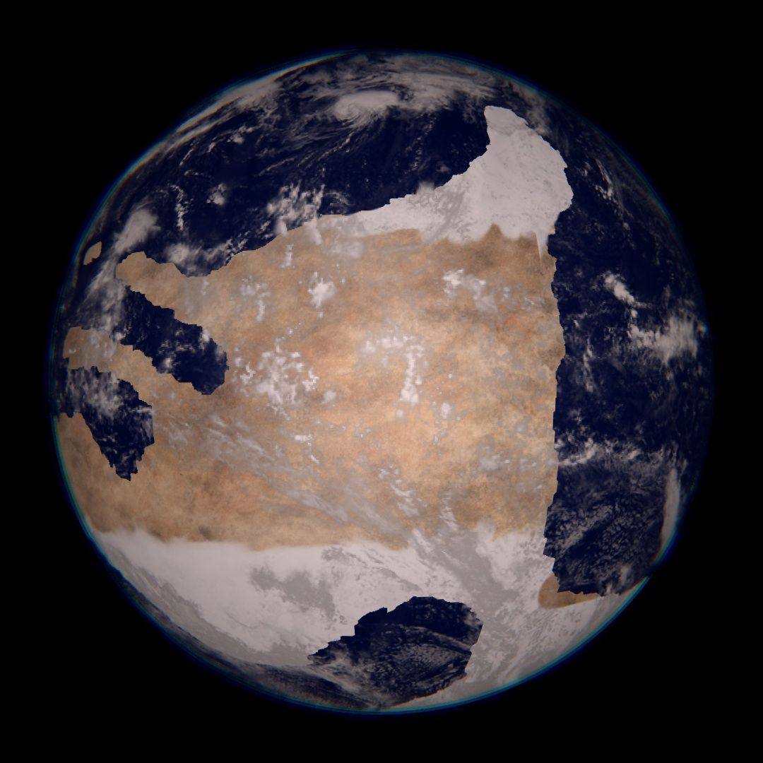 Earth, 660 million years ago - Rodinia. Late Precambrian, the surface was  often covered with glaciers, it's surface rocky. Greening of the surface  doesn't ...