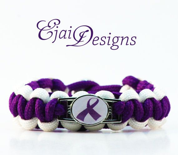Epilepsy Migraine Alzheimer's Crohn's Disease Lupus Thyroid Cancer Arnold Chiari Rett ADHD Purple Ribbon Awareness Paracord Charm Bracelet