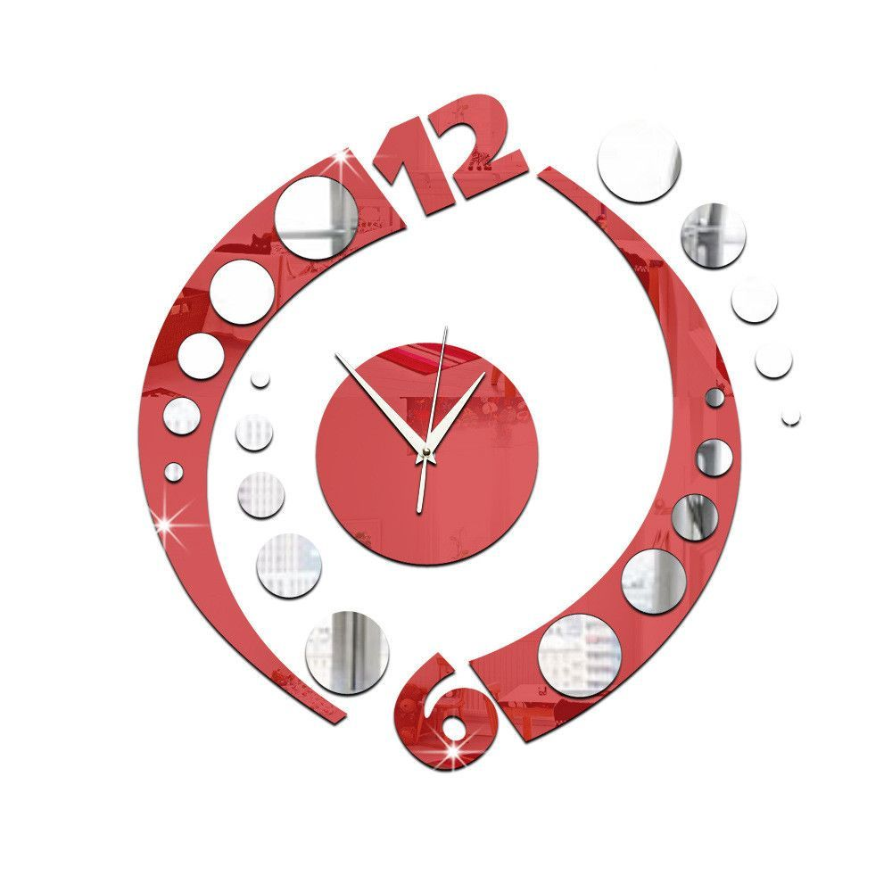 Creative clock arc double color acrylic mirror wall clock clock stereo character bedroom eyes