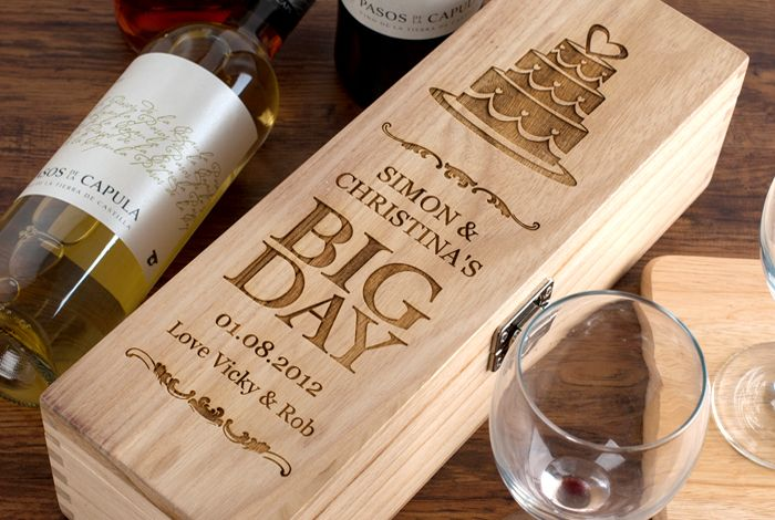 Wedding Gift Personalised: Personalised Luxury Wooden Wine Box - Big Day