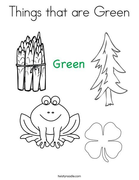 Things That Are Green Coloring Page From Twistynoodle Com