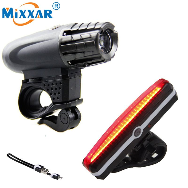 USB Rechargeable LED Bicycle MTB Bike Front Rear Light Headlight Taillight Lamps