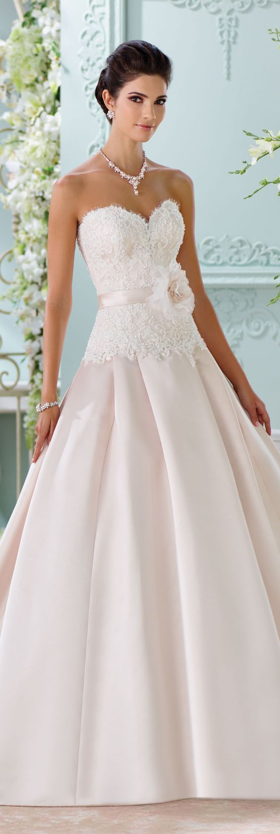The David Tutera for Mon Cheri Spring 2016 Wedding Gown Collection - Style No. 116215 Lucienne #satinandlaceweddingdress
