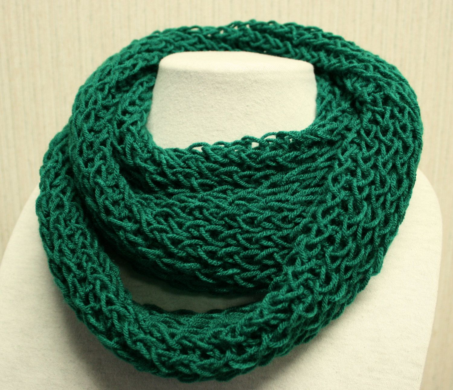 Emerald Green Infinity Scarf Hand Knitted and long enough to wrap wrap wrap. $15.00, via Etsy.