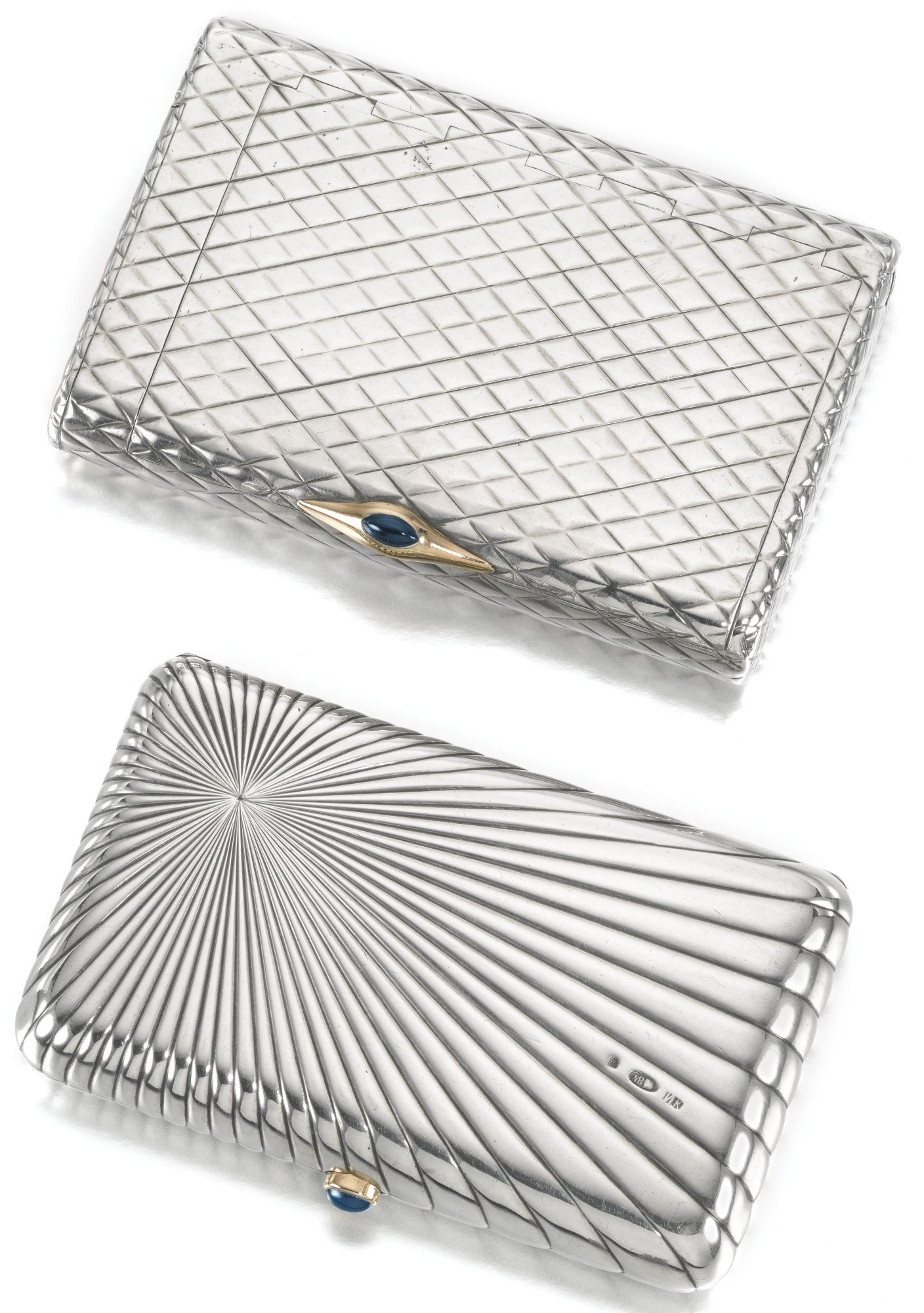 Two Silver Cigarette Cases The First Pavel Volkov Moscow 1899 1908 Surface Wiring Channel Of Raised Chevrons With Tinder Cord And Vesta Compartment